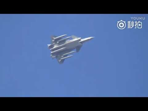 Chinese J-20 fighter jet made flight with four external fuel tanks