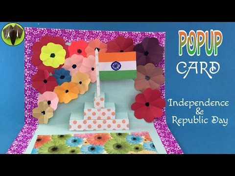 Tri Colour India Flag Popup Card For Independence Day And