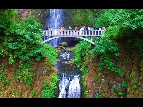 Multnomah Falls Oregon - Aerial Drone Video