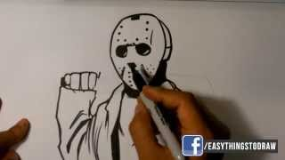 How to Draw Jason from Friday the 13th - Easy Things to Draw