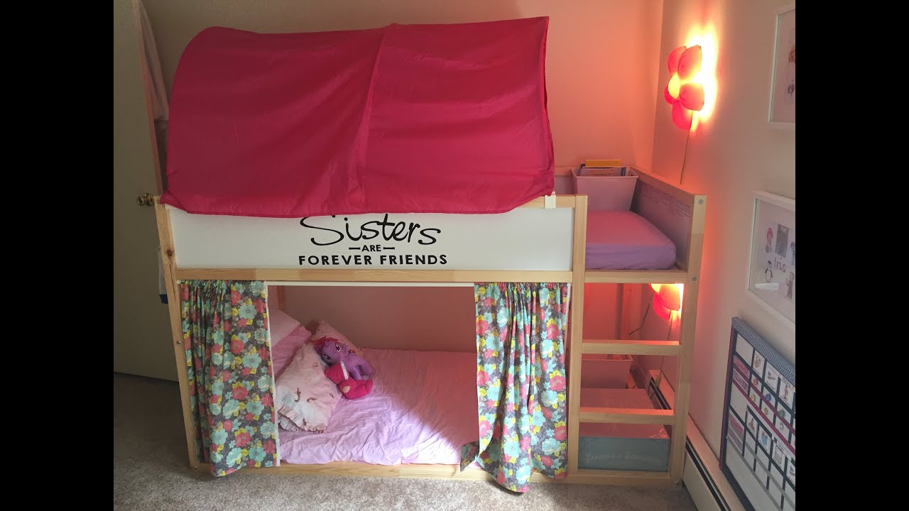 Bed Gordijn 11 : Ikea girls kura bunk beds set up youtube