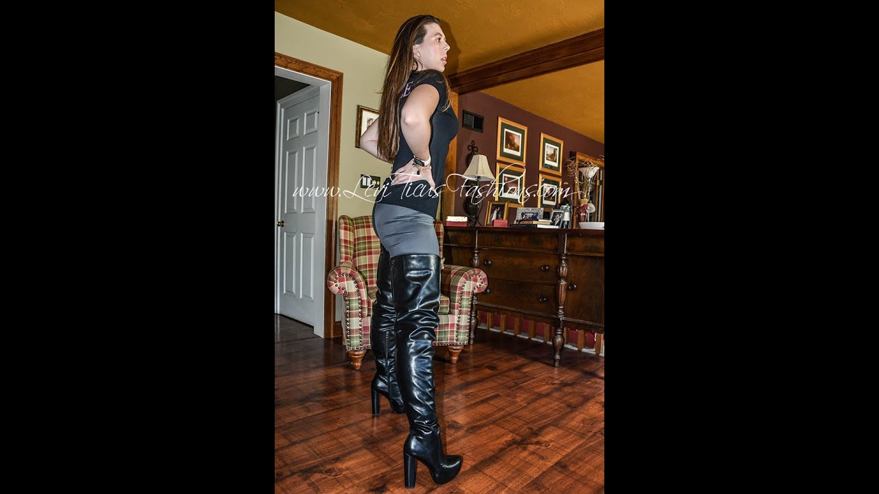 THIGH BOOTS VEGAN LEATHER LEGGINGS ROCK AND ROLL FASHION STYLE OUTFIT OOTD AUCTION