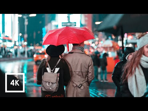 Walking in Heavy Rainstorm in NYC (Umbrella Rain Binaural Sounds For Sleep and Study) 4k ASMR