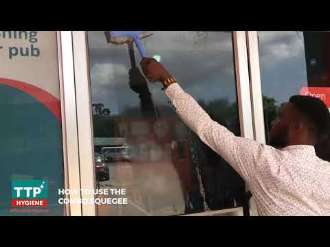 TTP Hygiene - Using the COMBO WINDOW SQUEGEE to clean Glass window . #Affordablehygiene