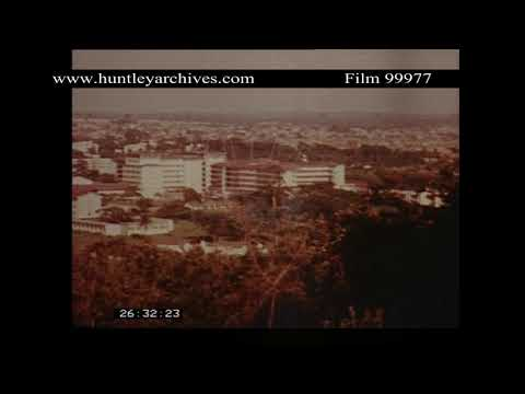 Long shot of a hospital in Nigeria, late 1970's.  Archive film 99977