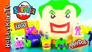 Play-Doh GIANT Lego Head Joker Makeover! Kinder Surprise Egg + Angry Batman! by HobbyKids