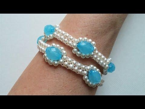 Easy beaded necklace (bracelet) pattern. Beginners jewelry making. Beaded bracelet
