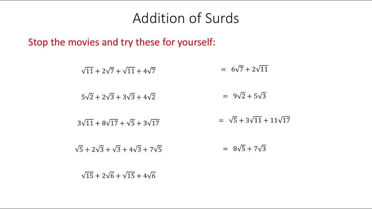 surds 2 arithmetic of surds adding and subtracting youtube