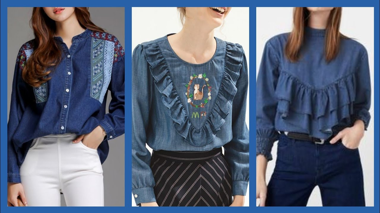[VIDEO] - fashionable Denim blouses ideas and tops styles and designs for girls and women 1