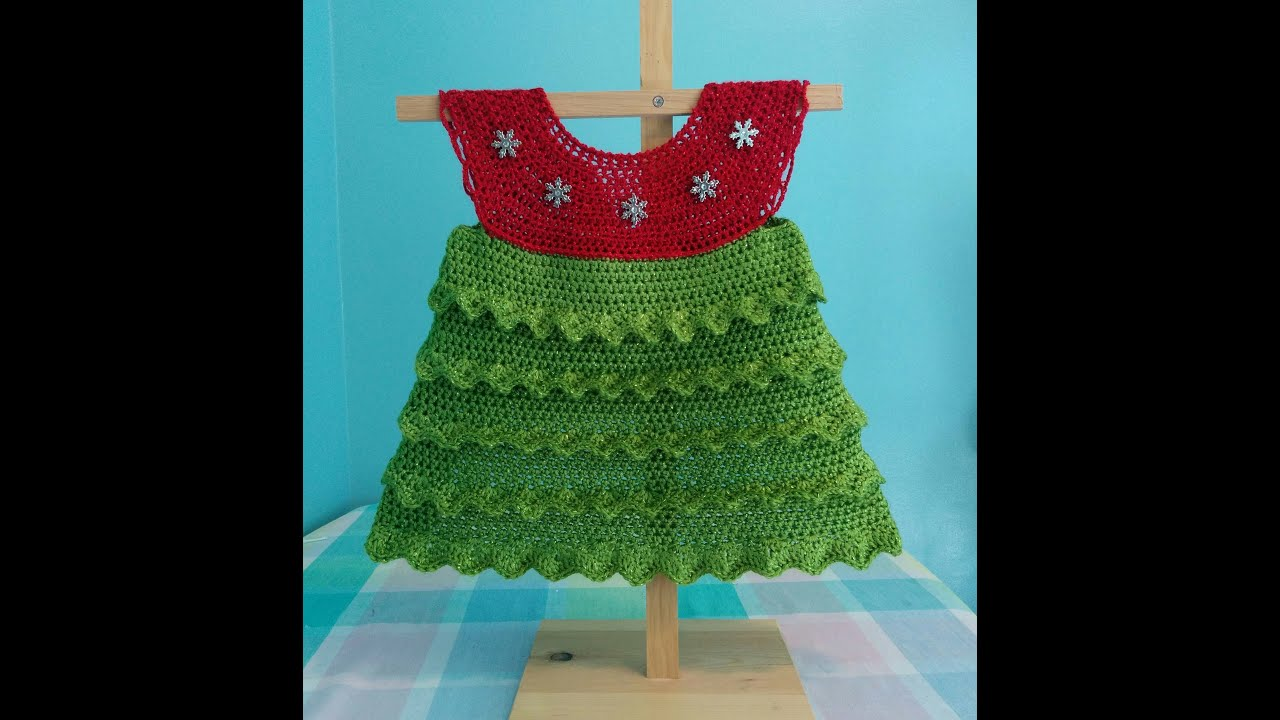 How to Crochet a Christmas Tree Holiday Baby Dress Tutorial