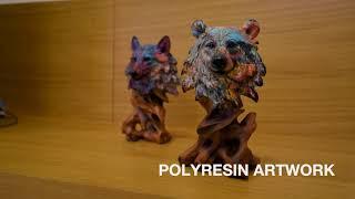 jual bear wood resin blue purple dekorasi rumah hiasan