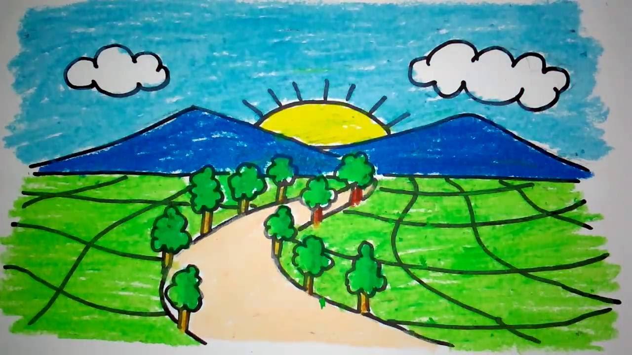 Cara Menggambar Pemandangan Bukit Dan Sawah Untuk Anak