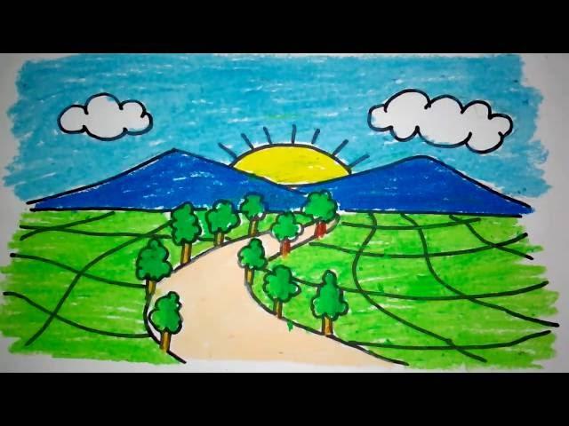 Cara Menggambar Pemandangan Gunung Untuk Anak Tk Dan Sd 123vid