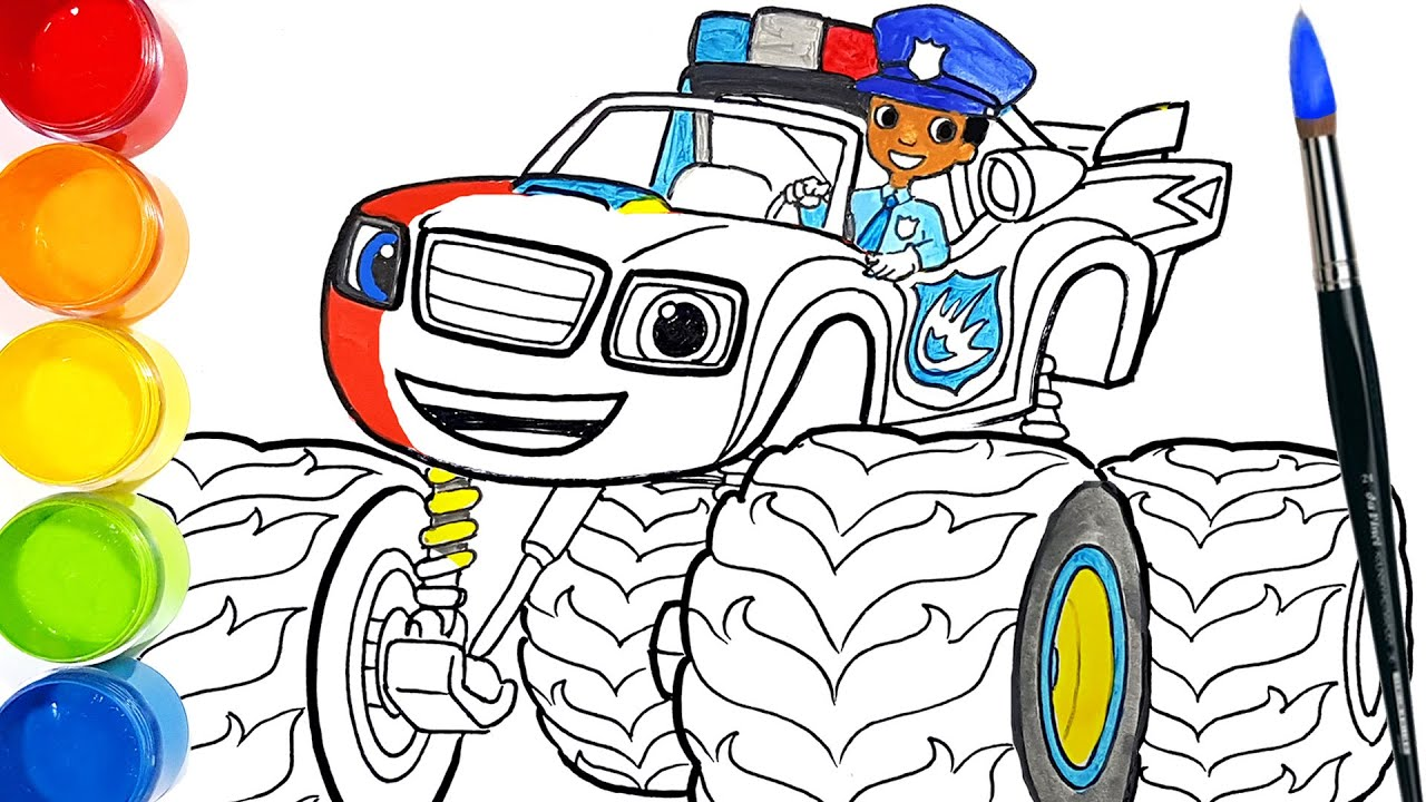 How to draw POLICE OFFICER BLAZE . Learn Colors Drawing and Coloring Pages | Tim Tim TV