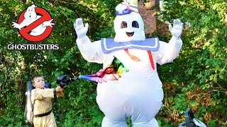 Ghostbusters Mr Puft and Slimer vs the Kid Ghostbusters irl funny family fun  kids video