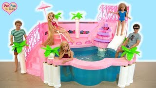 Barbie Fountain Pool Unboxing Review - Barbie doll Toy Boneka Barbie Kolam renang Piscina boneca
