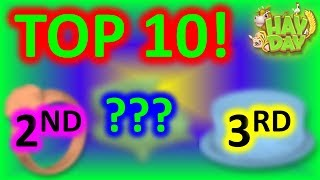 HAY DAY - TOP 10 MOST EXPENSIVE ITEMS IN ORDER! EDITED VIDEO!