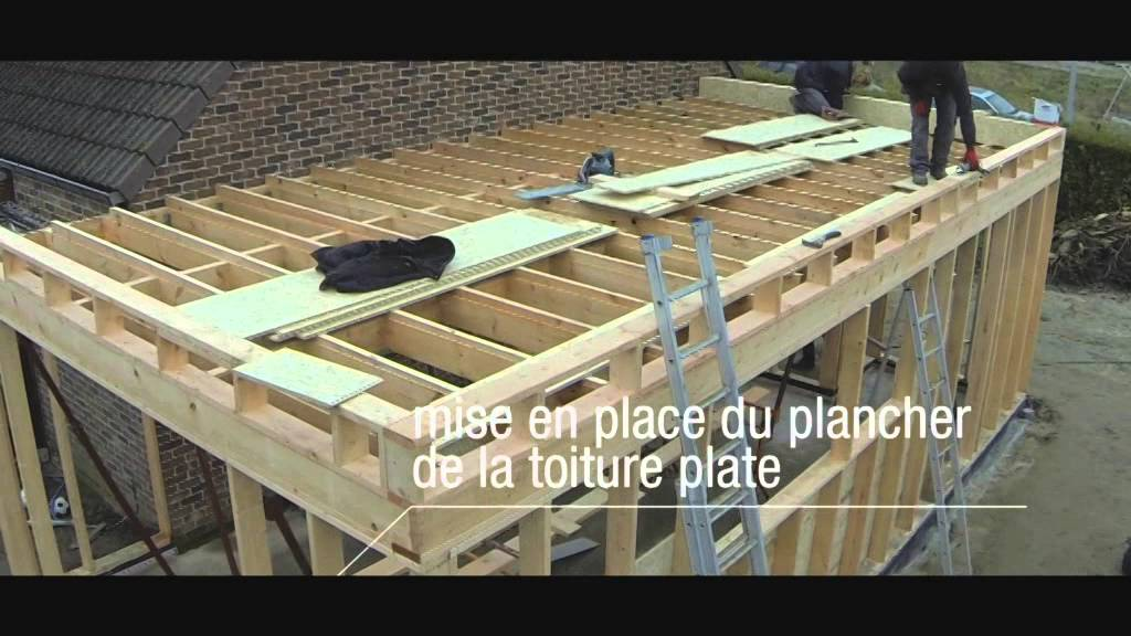 Meunier fr res construction d 39 une extension d 39 habitation youtube for Construction toit plat