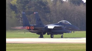 8 x F-15E Strike Eagles full afterburner Scramble (RAF Lakenheath). Full HD