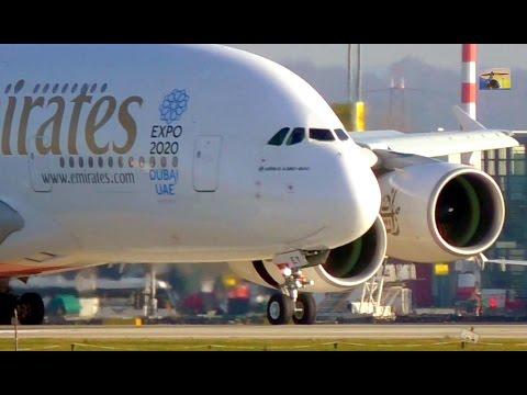 Emirates A380 amaizing  crosswind landing / take-off at DUS - Airport Düsseldorf