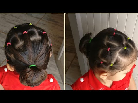 Baby girl hairstyle ( A hairstyle with rubber bands can make your baby's look different)