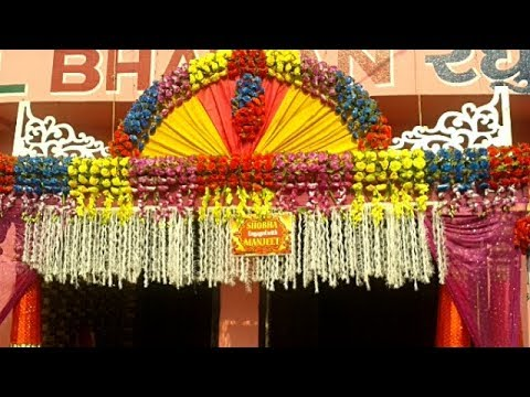 welcome-gate-decoration-with-multicolour-artificial-flowers-&-tuberose-chains-for-a-wedding-party