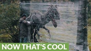 Spray paint artist pulls off epic dinosaur forest art