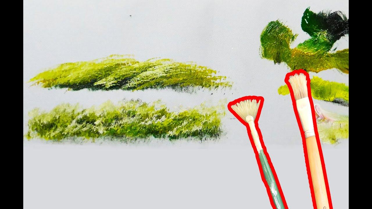 Cách vẽ bụi cỏ bằng bút quạt