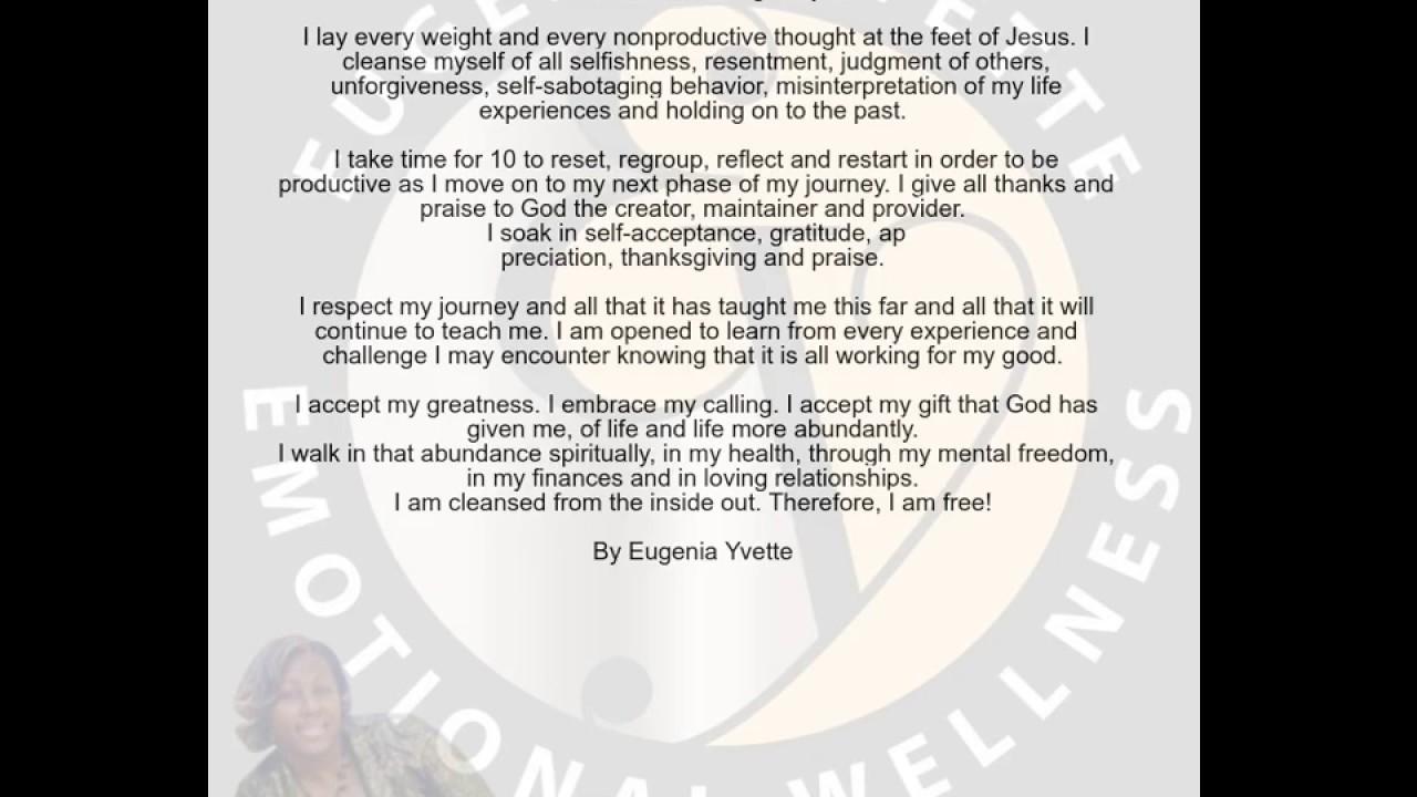 EY's Emotional Cleansing Prayer