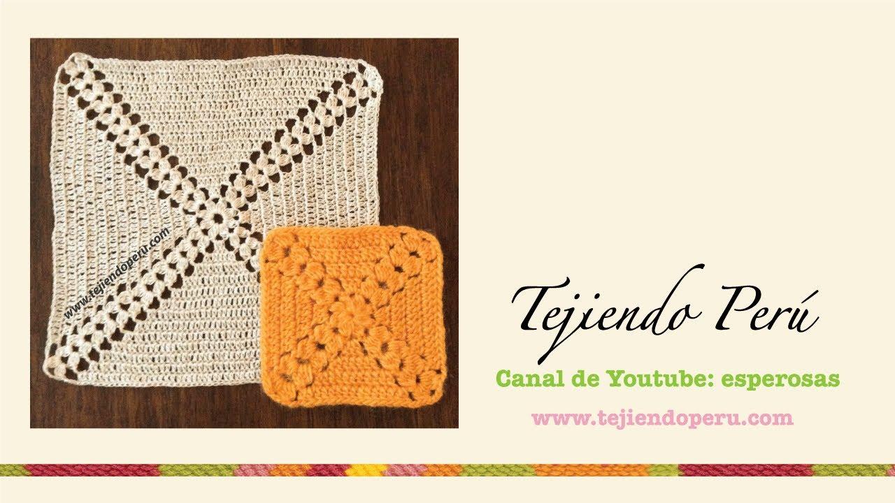 Cuadrado sin fin con piñas tejido a crochet - YouTube