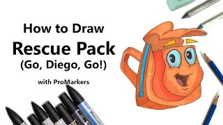 How to Draw and Color Rescue Pack from Go, Diego, Go! with ProMarkers [Speed Drawing]