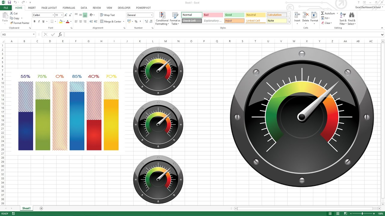 Creating kpi dashboard with gauges excel templates also youtube rh