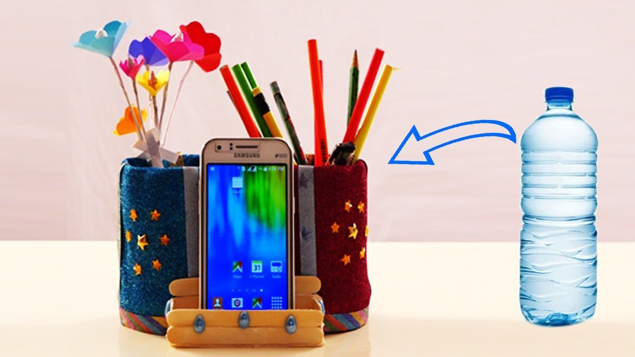 Waste Plastic Bottle Craft Ideas How To Make Pen Phone Stand With