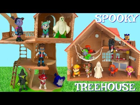 Learn Colors with Paw Patrol Spooky Halloween Treehouse Cabn Treasure Hunt | Fizzy Fun