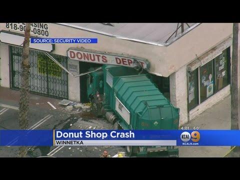 Trash Truck Crashes Into Winnetka Doughnut Shop
