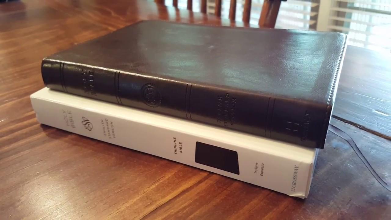 Crossway ESV Thinline Bible in a TruTone Espresso cover