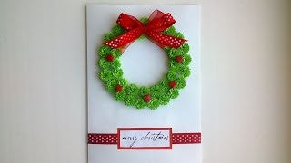 Paper Christmas cards: make beautiful paper Quilling Christmas card.