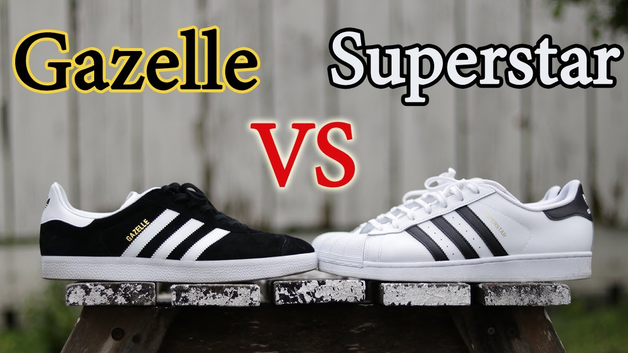 Adidas Superstar vs Gazelle close up   sobre pies comparación YouTube