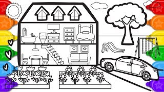 Glitter House with Garden Coloring Page, Learn to Color Coloring and Drawing for Kids