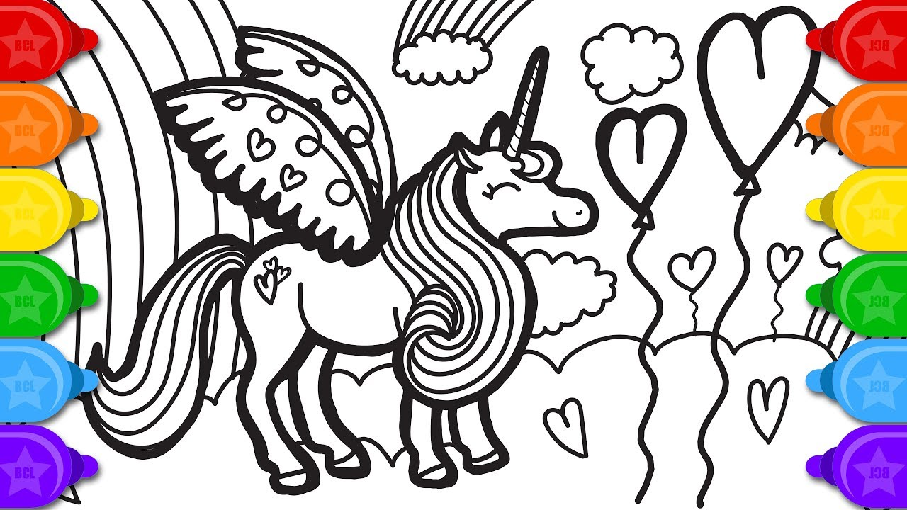 Glitter party unicorn coloring page and drawing | How to ...