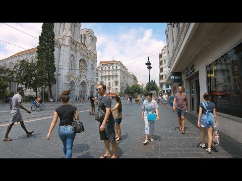 Walking Nice, France - Main Shopping Street To Nice Ville Train Station From Place Massena