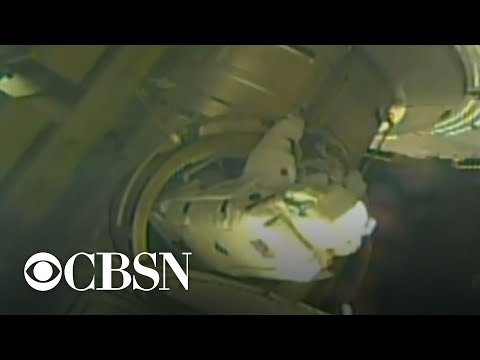 2 astronauts conduct spacewalk mission to replace old solar rays at International Space Station