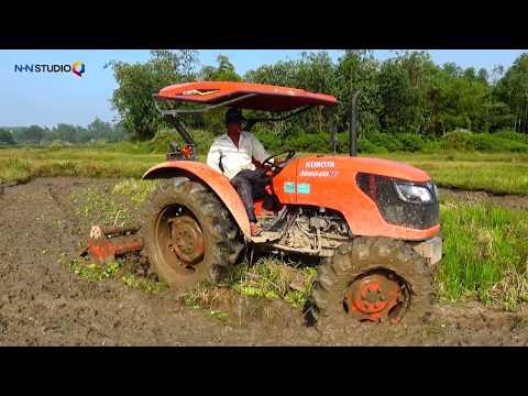 KUBOTA M6040 TÀI MIỀN TÂY XỚI RUỘNG THỤT GIÀN PHAY MACHIO may cay kubota tractor- cuoc song mien nui