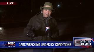 Cars wrecking under icy conditions