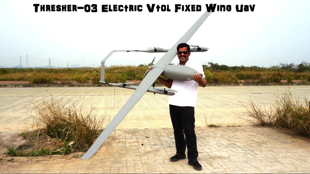 Thresher-03 Electric Vtol Fixed Wing Uav For Mapping And Surveillance -  Auto Take Off & Auto Landing