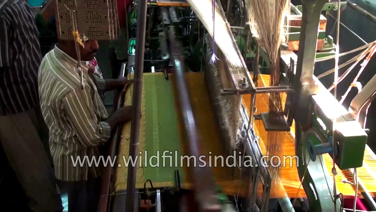 Weaving a silk saree on a power loom