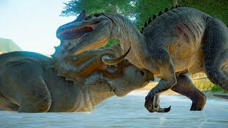 Allosaurus & Metriacanthosaurus Hunting In Beach Environment - Jurassic World Evolution