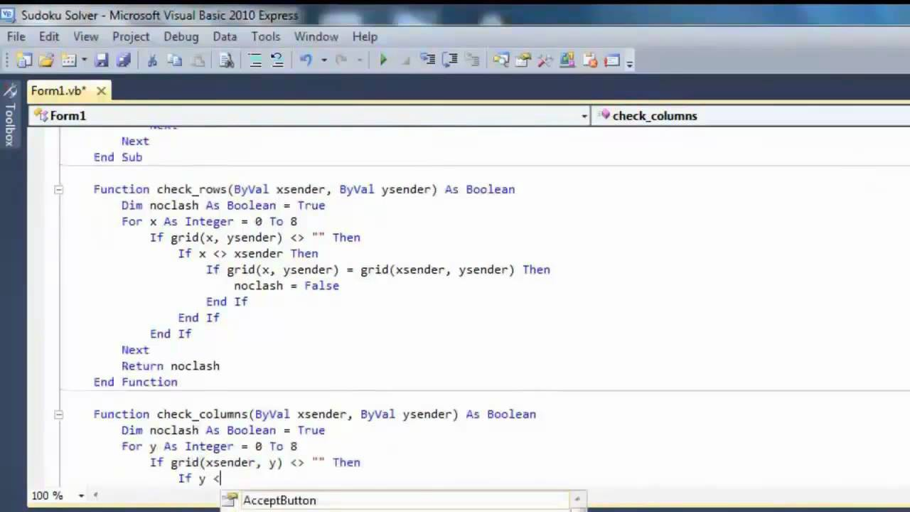 How To Create A Sudoku Solver, Using Visual Basic 2010 Express Part Two