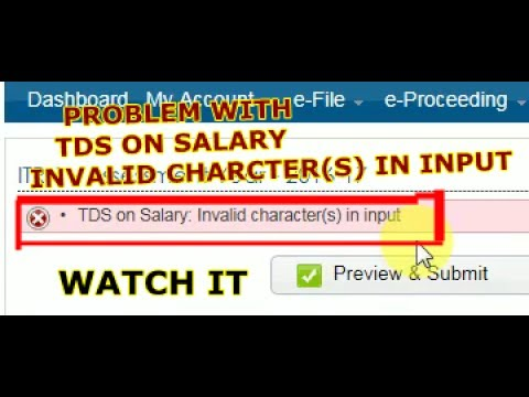 "how to remove  ""TDS on salary : invalid character(s) input "" problem"