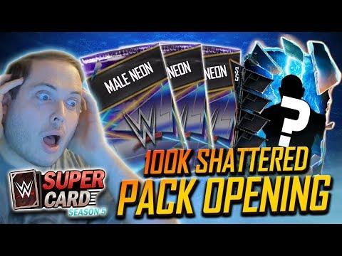 INSANE 100K SHATTERED PACK OPENING!! | WWE SuperCard Season 5